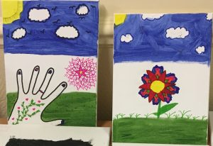 Childrens paintings by foster children with Ikon Fostering of Walsall, West Midlands