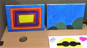 Paintings by healthy foster children with Ikon Fostering of Walsall, West Midlands