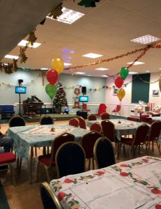 Christmas table and balloons for foster children and fostering parents